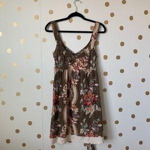 Free People Brown Floral Tie Back Dress